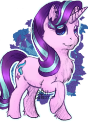 Size: 1036x1509   Tagged: safe, artist:8bitgalaxy, starlight glimmer, pony, unicorn, abstract background, chest fluff, cute, female, glimmerbetes, looking at you, mare, raised hoof, simple background, smiling, solo, transparent background, watermark
