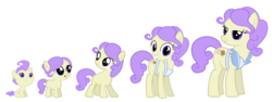 Size: 3018x1138 | Tagged: safe, artist:ridingonrainbows, cream puff, earth pony, pony, 5-year-old, age progression, baby, baby pony, female, filly, mare, simple background, teenager, transparent background