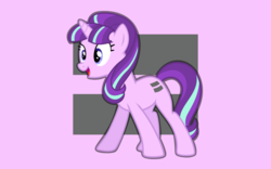 Size: 1920x1200   Tagged: safe, artist:mattbas, starlight glimmer, pony, unicorn, cute, equal cutie mark, equal sign, female, glimmerbetes, happy, mare, open mouth, pink background, s5 starlight, simple background, smiling, solo