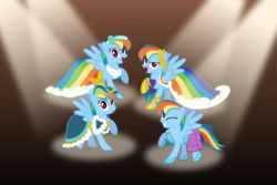 Size: 3072x2048 | Tagged: artist:mattbas, beautiful, clothes, coronation dress, cute, >:d, dashabetes, dashstorm, dress, female, gala dress, hat, hoof shoes, mare, multeity, one eye closed, open mouth, pegasus, pony, rainbow dash, rainbow dash always dresses in style, raised hoof, safe, smiling, smirk, solo, spotlight, wings, wink, wreath