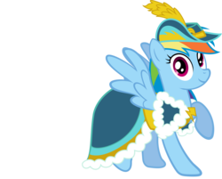 Size: 2024x1630 | Tagged: artist:mattbas, beautiful, clothes, coronation dress, cute, dashabetes, dress, female, hat, looking at you, mare, pegasus, pony, rainbow dash, rainbow dash always dresses in style, raised hoof, safe, simple background, smiling, solo, transparent background, vector, wings