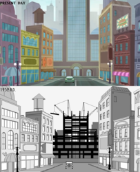 Size: 1170x1440   Tagged: safe, artist:newman134, screencap, equestria girls, equestria girls series, super squad goals, 1930s, 20th century, building, canterlot (equestria girls), canterlot city, car, city, comparison, history, human world, lamppost, location, monochrome, nissan gt-r, no pony, paint.net, past and present, road, street, streetlight, stylized