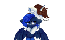Size: 2000x1250 | Tagged: safe, artist:lunar froxy, oc, oc only, oc:archer eclipse, oc:metronome circuit, pegasus, pony, unicorn, annoyed, biting, cheek fluff, chest fluff, ear bite, ear fluff, female, fluffy, glasses, horn, horn ring, male, mare, nom, simple background, socks (coat marking), stallion, transparent background