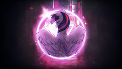 Size: 2304x1296 | Tagged: safe, artist:scarlet-spectrum, edit, twilight sparkle, alicorn, pony, bust, facing away, female, mare, neon, solo, spread wings, twilight sparkle (alicorn), wallpaper, wings