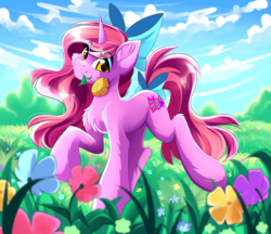 Size: 1280x1108 | Tagged: safe, artist:airiniblock, oc, oc only, oc:candy heart, pony, unicorn, bow, cute, eyeshadow, female, flower, flower in mouth, grass field, hair bow, looking at you, makeup, mare, mouth hold, rcf community, sky, solo, tail bow