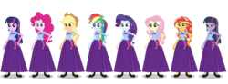 Size: 2913x1080 | Tagged: alicorn, alternate universe, alternate version, applejack, artist:cartoonmasterv3, clone, clothes, equestria girls, fluttershy, humane five, long skirt, mean twilight sparkle, pinkie pie, rainbow dash, rarity, safe, skirt, solo, sunset shimmer, twilight sparkle, twilight sparkle (alicorn)
