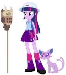 Size: 816x925 | Tagged: artist:maretrick, backpack, ball, equestria girls, espeon, hat, noctowl, owlowiscious, pokémon, safe, twilight sparkle