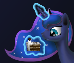 Size: 1684x1436 | Tagged: artist:platinumdrop, cake, food, gradient background, magic, princess luna, safe, simple background, solo, telekinesis