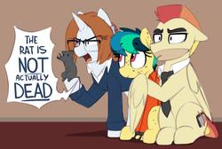 Size: 1421x955   Tagged: safe, artist:shinodage, oc, oc:apogee, oc:diamond gavel, oc:houston, oc:jet stream, mouse, pegasus, pony, rat, unicorn, body freckles, clothes, court, cuffs, dialogue, eye clipping through hair, father and daughter, female, filly, freckles, glasses, hoof hold, hug, lawyer, male, mare, prison outfit, prisoner, shackles, sitting, speech bubble, stallion, trial, winghug