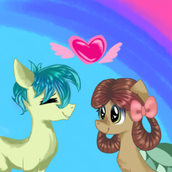 Size: 1001x1000 | Tagged: artist:creepycookies, bow, cute, eye clipping through hair, eyes closed, female, hair bow, heart, heart eyes, male, ponified, pony, pony yona, profile, safe, sandbar, she's all yak, shipping, species swap, spoiler:s09e07, straight, wingding eyes, wings, yona, yonabar