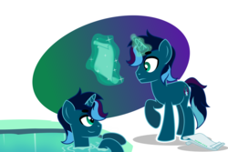 Size: 1024x683 | Tagged: artist:stellardusk, bedroom eyes, clone, magic, mirror pool, oc, oc:clear dusk, oc:stellar dusk, paper, safe, scroll, simple background, unicorn