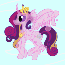 Size: 800x800 | Tagged: safe, artist:sixes&sevens, princess cadance, alicorn, goo pony, original species, abstract background, body horror, curved horn, eldritch abomination, horn, jewelry, regalia, species swap, tentacle mane, translucent