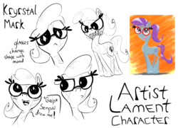 Size: 2000x1444 | Tagged: angry, artist:krystalmark, blushing, braces, crystal pony, dialogue, expressions, female, glasses, looking at you, mare, oc, oc:krystal mark, oc only, sad, safe, sketch, text