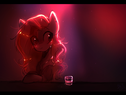 Size: 500x375 | Tagged: artist:avimod, bar, blushing, clothes, ear piercing, earring, eye clipping through hair, female, glass, jewelry, letterboxing, lighting, mare, oc, oc:cia, oc only, piercing, pony, safe, shot glass, solo