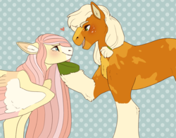 Size: 2982x2324 | Tagged: abstract background, alternate hairstyle, applejack, appleshy, artist:horsepowerred, blushing, coat markings, colored hooves, colored wings, earth pony, female, floppy ears, fluffy, fluttershy, heart, lesbian, long hair, looking at each other, mare, open mouth, pegasus, pigtails, pony, profile, redesign, safe, shipping, smiling, socks (coat marking), spread wings, wings