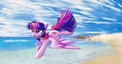 Size: 3800x2000 | Tagged: alicorn, artist:empress-twilight, beach, cute, female, heart eyes, mare, ocean, open mouth, pony, running, safe, solo, spread wings, twiabetes, twilight sparkle, twilight sparkle (alicorn), wingding eyes, wing fluff, wings