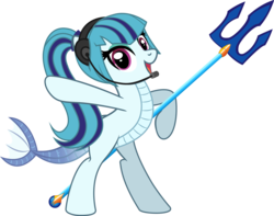 Size: 3345x2630 | Tagged: safe, artist:andrevus, sonata dusk, half-siren, original species, pony, earpiece, fish tail, ponified, simple background, solo, transparent background, trident, weapon