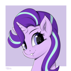 Size: 2000x2000 | Tagged: abstract background, artist:hardbrony, bust, cheek fluff, cute, ear fluff, female, glimmerbetes, horn, lip bite, looking at you, mare, pony, portrait, safe, smiling, solo, starlight glimmer, unicorn