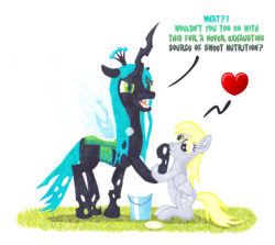 Size: 2860x2550 | Tagged: artist:malte279, bubble, bucket, changeling, changeling queen, comic, cute, cutealis, derpabetes, derpy hooves, dialogue, duo, duo female, female, heart, marker, marker drawing, markers, pegasus, pony, queen chrysalis, safe, simple background, soap, soap bubble, traditional art, transparent background