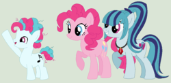 Size: 852x416 | Tagged: artist:themexicanpunisher, base used, colt, earth pony, equestria girls ponified, family, female, green background, lesbian, magical lesbian spawn, male, oc, oc:allegro, offspring, parent:pinkie pie, parent:sonata dusk, parents:pinata, pinata (ship), pinkie pie, ponified, pony, safe, shipping, simple background, sonata dusk