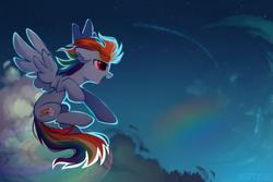 Size: 2449x1632   Tagged: safe, artist:mirtash, rainbow dash, pegasus, pony, cloud, cute, cutie mark, dashabetes, ear fluff, female, flying, glow, mare, night, profile, rainbow, rcf community, sky, solo, spread wings, upside down cutie mark, wings
