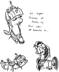 Size: 667x817 | Tagged: safe, artist:jargon scott, twilight sparkle, oc, oc:matriarch zeg'us, alicorn, pony, zebra, big crown thingy, black and white, crown, duo, female, grayscale, imminent racism, jewelry, mare, monochrome, older, older twilight, regalia, suspicious neck, twiggie, twilight sparkle (alicorn), woonoggles, ziggers