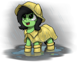 Size: 4000x3269 | Tagged: safe, artist:smoldix, oc, oc only, oc:filly anon, pony, adoranon, cute, female, filly, galoshes, happy, ocbetes, open mouth, puddle, rain, raincoat, simple background, solo, transparent background, wellies