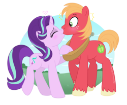 Size: 2144x1772   Tagged: safe, artist:raspberrystudios, big macintosh, starlight glimmer, pony, big macintosh gets all the mares, blushing, female, glimmermac, kissing, male, shipping, simple background, straight, surprise kiss