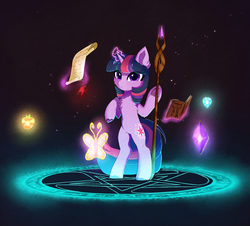 Size: 2547x2300 | Tagged: safe, artist:empress-twilight, twilight sparkle, pony, unicorn, bipedal, book, chest fluff, cute, ear fluff, elements of harmony, female, glowing horn, horn, magic, magic circle, mare, paper, pentagram, scroll, solo, staff, standing, telekinesis, twiabetes, unicorn twilight, unshorn fetlocks