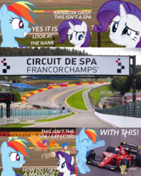 Size: 749x932 | Tagged: apple bloom, belgium, circuit de spa francorchamps, comic style, derby, derby racers, eau rouge, europe, fanfic, fanfic:equestria motorsports, ferrari, ferrari 641, irl, photo, ponies in real life, pony, race track, raidillon, rainbow dash, rarity, safe, scootaloo, sweetie belle, watermark
