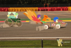 Size: 750x502 | Tagged: apple bloom, belgium, circuit de spa francorchamps, cutie mark crusaders, derby racers, europe, fanfic, fanfic:equestria motorsports, irl, photo, ponies in real life, pony, race track, safe, scootaloo, sweetie belle, the cart before the ponies, watermark