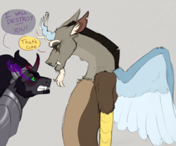 Size: 1280x1067 | Tagged: armor, artist:horsepowerred, dialogue, discord, draconequus, floppy ears, gay, gray background, grin, gritted teeth, jewelry, king sombra, male, one sided shipping, pony, regalia, safe, shipping, simple background, smiling, sombracord, sombra eyes, speech bubble, spread wings, stallion, torn ear, wings