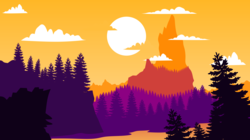 Size: 5262x2954 | Tagged: safe, artist:razoredge2312, frenemies (episode), absurd resolution, background, cloud, high res, mount everhoof, mountain, no pony, orange sky, pine tree, scenery, simple, sky, sun, tree, vector, vector trace