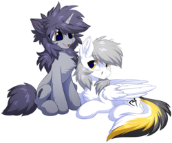 Size: 1200x999 | Tagged: safe, artist:hioshiru, oc, oc only, oc:kate, oc:kej, pegasus, pony, unicorn, cheek fluff, chest fluff, ear fluff, female, fluffy, horn, k+k, male, mare, oc x oc, open mouth, shipping, simple background, sitting, smiling, stallion, straight, transparent background, wings