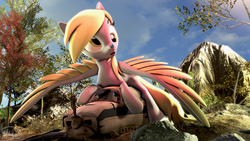 Size: 3840x2160 | Tagged: 3d, 4k, artist:whiteskyline, butterfly, derpy hooves, grass, lying down, mountain, pegasus, plane, rock, safe, source filmmaker, spread wings, tree, wings