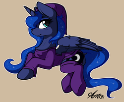 Size: 1032x849 | Tagged: safe, artist:arjinmoon, princess luna, alicorn, pony, chest fluff, clothes, cuddly, cute, female, horn, lunabetes, mare, on side, solo, tan background, wings