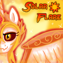 Size: 1600x1600   Tagged: safe, artist:crusader productions, daybreaker, pony, armor, cover art, cutie mark, fangs, fire, glowing eyes, text, thumbnail, villainess, wings