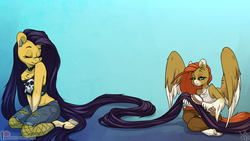 Size: 1300x731 | Tagged: anthro, anthro oc, artist:atryl, brushing, clothes, collar, duo, duo female, ear piercing, earth pony, female, fishnets, hairbrush, kneeling, long hair, long mane, mare, oc, oc only, oc:pumpkin lily, oc:wild spice, pegasus, piercing, safe, shorts, smiling, tanktop, unguligrade anthro, unshorn fetlocks, wing piercing