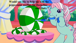 Size: 853x480 | Tagged: safe, edit, edited screencap, screencap, minty, a charming birthday, bronybait, cute, drill, g3, g3 to g4, generation leap, implied derpy, implied dinky, mintabetes, peppermint, text