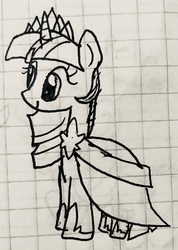 Size: 1720x2417 | Tagged: safe, artist:rainbow eevee, twilight sparkle, alicorn, pony, unicorn, clothes, crown, cute, drawing, dress, female, gala dress, graph paper, jewelry, lineart, old art, regalia, solo, traditional art, twiabetes, twilight sparkle (alicorn), unicorn twilight, wingless