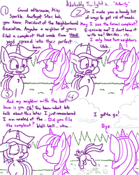 Size: 1280x1611 | Tagged: adorkable, adorkable twilight, alicorn, amethyst star, artist:adorkabletwilightandfriends, brutal, butt, caught, comic, comic:adorkable twilight and friends, complaining, cute, dork, grass, humor, lineart, neighbors, nervous, plot, pony, run away, running, running away, safe, slice of life, sparkler, sweat, twilight sparkle, twilight sparkle (alicorn), unicorn, weeds, yard