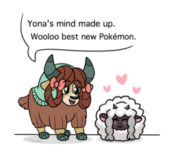 Size: 1000x950 | Tagged: safe, artist:pink-pone, yona, wooloo, yak, bow, cloven hooves, crossover, cute, dialogue, duo, female, hair bow, heart, monkey swings, pokemon sword and shield, pokémon, simple background, speech bubble, white background, yonadorable