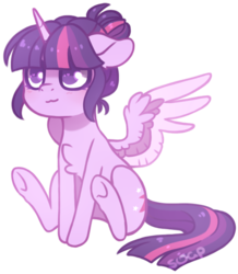Size: 611x700 | Tagged: alicorn, alternate hairstyle, artist:ask-ociel, blushing, chest fluff, colored wings, cute, dead source, female, hair bun, heart eyes, mare, multicolored wings, no pupils, pony, safe, simple background, sitting, solo, transparent background, twiabetes, twilight sparkle, twilight sparkle (alicorn), wingding eyes, wing fluff, wings