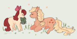 Size: 900x460 | Tagged: adorabloom, alternate hairstyle, apple bloom, applejack, artist:cxpreolus, artist:maykitz, blank flank, bow, braid, braided tail, chest fluff, cute, duo, earth pony, eyes closed, female, filly, flower, hair bow, jackabetes, mare, mouth hold, pony, profile, prone, safe, simple background