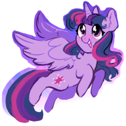 Size: 500x500 | Tagged: alicorn, artist:sketchbunnies, cute, dead source, ear fluff, eye sparkles, female, mare, open mouth, pony, safe, solo, spread wings, twiabetes, twilight sparkle, twilight sparkle (alicorn), wingding eyes, wings