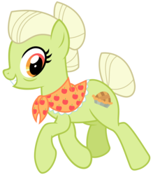 Size: 2800x3200 | Tagged: artist:cheezedoodle96, bags under eyes, earth pony, female, going to seed, granny smith, looking at you, mare, pony, safe, shawl, simple background, smiling, solo, spoiler:s09e10, svg, .svg available, transparent background, vector, walking, younger, young granny smith