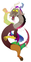 Size: 674x1325 | Tagged: alternate version, artist:discords, artist:havocs, discord, draconequus, floating, floppy ears, happy, looking at you, male, open mouth, safe, simple background, solo, transparent background, waving