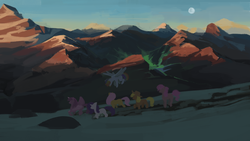 Size: 1280x720 | Tagged: safe, artist:redruin01, applejack, fluttershy, pinkie pie, rainbow dash, rarity, twilight sparkle, alicorn, earth pony, pegasus, pony, unicorn, flying, mane six, moon, mountain, scenery, twilight sparkle (alicorn)
