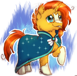 Size: 1556x1544 | Tagged: abstract background, artist:8bitgalaxy, clothes, cute, ear fluff, facial hair, glasses, glowing horn, goatee, horn, raised leg, robe, safe, sketch, smiling, solo, sunbetes, sunburst, sunburst's robe, unicorn, watermark