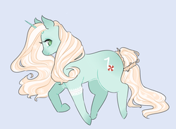 Size: 950x700 | Tagged: artist:maykitz, bandage, braided tail, commission, female, looking at you, mare, oc, oc:melody mint, oc only, pony, profile, safe, simple background, smiling, solo, unicorn, walking